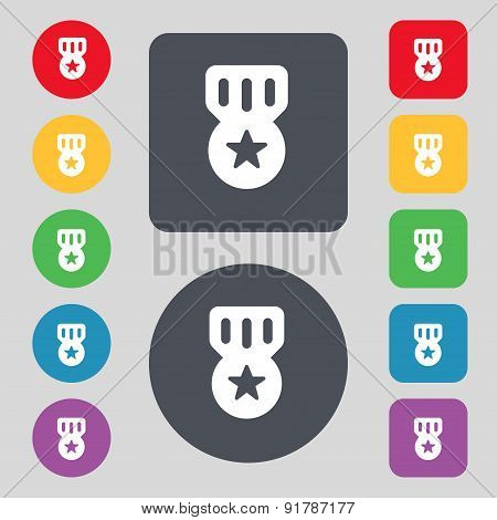 Award, Medal Of Honor Icon Sign. A Set Of 12 Colored Buttons. Flat Design. Vector