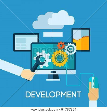Programm Development Flat Illustration