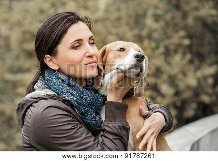 Woman With Dog Portrait