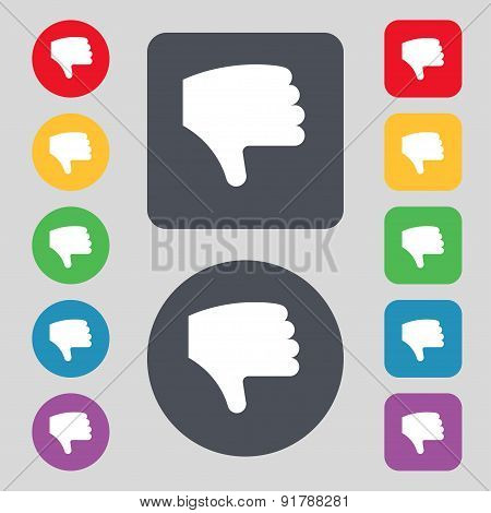 Dislike, Thumb Down, Hand Finger Down Icon Sign. A Set Of 12 Colored Buttons. Flat Design. Vector