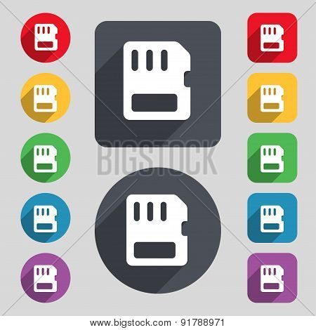 Compact Memory Card Icon Sign. A Set Of 12 Colored Buttons And A Long Shadow. Flat Design. Vector