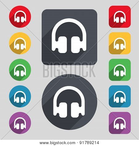 Headphones, Earphones Icon Sign. A Set Of 12 Colored Buttons And A Long Shadow. Flat Design. Vector