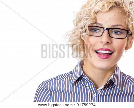 Girl With Surprise Looks, Isolated On White Background. Close Up Studio Shot Of A Young Formal  Fema