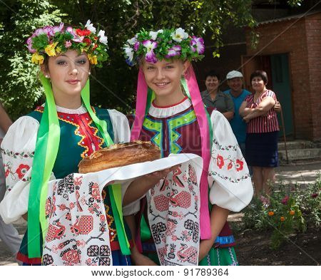 Donetsk, Ukraine - 26 July, 2013: Girls In National Costumes Prepare To Welcome Miners Donetsk Coal