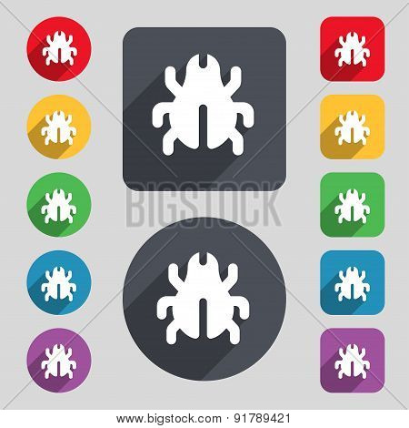 Software Bug, Virus, Disinfection, Beetle Icon Sign. A Set Of 12 Colored Buttons And A Long Shadow.