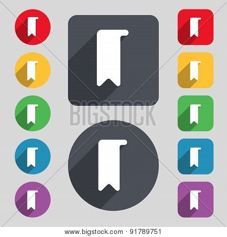 Bookmark Icon Sign. A Set Of 12 Colored Buttons And A Long Shadow. Flat Design. Vector