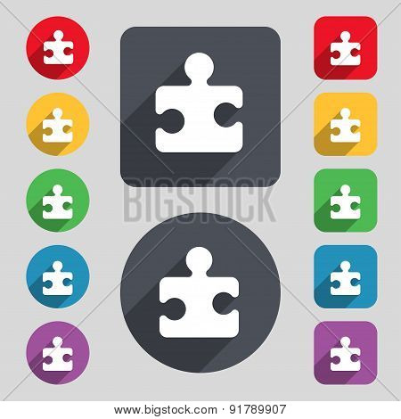 Puzzle Piece Icon Sign. A Set Of 12 Colored Buttons And A Long Shadow. Flat Design. Vector