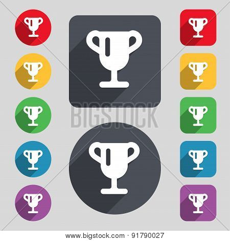 Winner Cup, Awarding Of Winners, Trophy Icon Sign. A Set Of 12 Colored Buttons And A Long Shadow. Fl