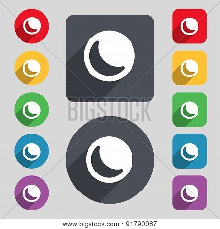Moon Icon Sign. A Set Of 12 Colored Buttons And A Long Shadow. Flat Design. Vector