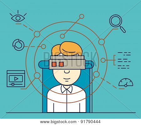 Vector Illustration Of User Uses Helmet Of Virtual Reality