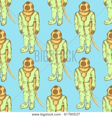 Sketch Cute Vintage Diving Suit