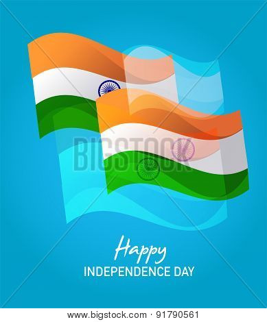 Wind Wave India Flags in on Blue , happy independence day