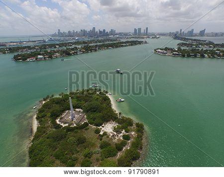 Aerial photo Monument Island Miami Beach