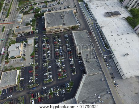 Aerial image of a shopping center