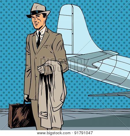 Male Passenger Air Traveler Business Trip Businessman Pop Art Re
