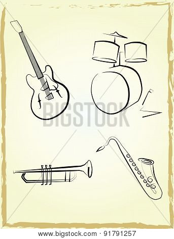 Jazz instruments set
