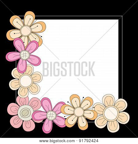 Black Frame with pink orange and beige Flowers