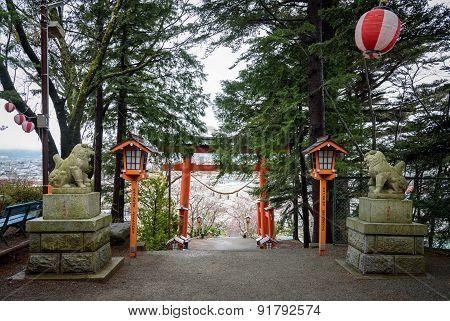 Torii at chureito pagoda in Japan .