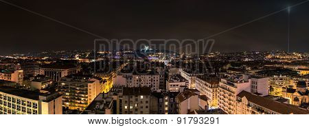 Night View Of Downtown In Lyon, France