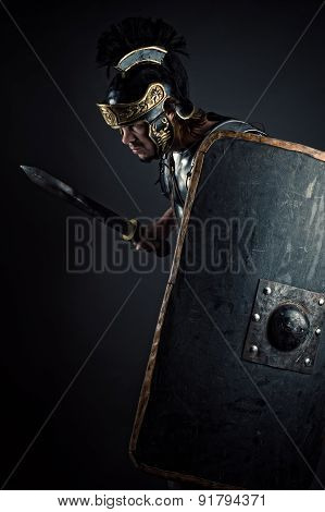 brutal warrior with sword and shield