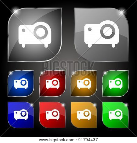 Projector Icon Sign. Set Of Ten Colorful Buttons With Glare. Vector