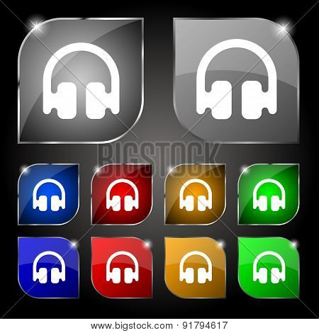 Headphones, Earphones Icon Sign. Set Of Ten Colorful Buttons With Glare. Vector