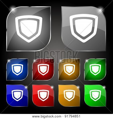 Shield Icon Sign. Set Of Ten Colorful Buttons With Glare. Vector