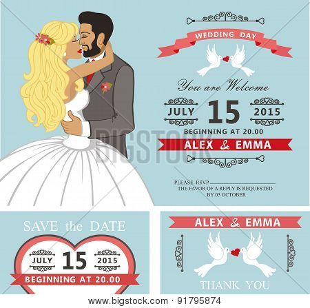 Wedding invitation set.Kissing Cartoon bride and groom
