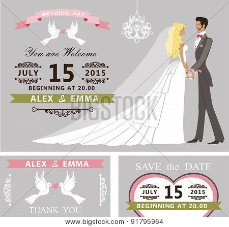 Wedding invitation set. Cartoon bride and groom,chandelier
