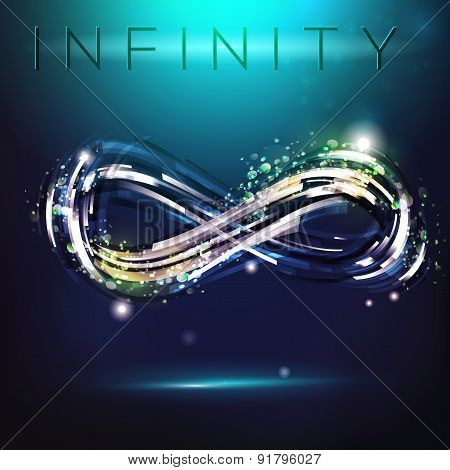 Infinity Symbol At Night Sky Background
