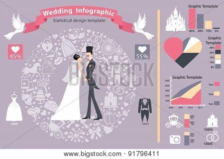 Wedding infographics set.Retro bride,groom,icons.Horizontal