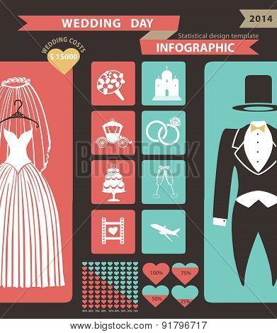 Wedding infographic set with flat icons,wedding wear