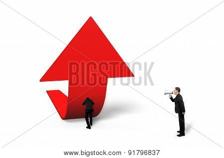 Boss Yelling At Staff Pushing Red Trend 3D Arrow Upward