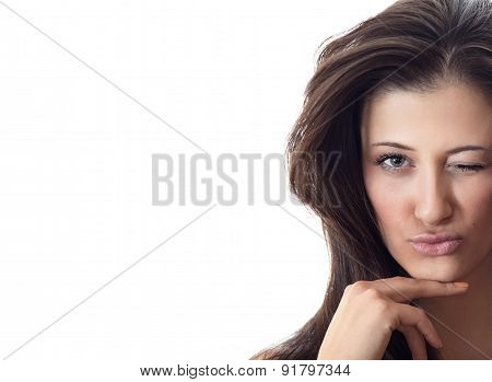 Portrait Of A Beautiful Young Woman With Longhair Isolated On White Background With Copyspace For Te