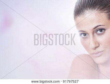 Calm Softly Portrait Of A Beauty Woman With Copyspace For Your Text. Young Female With Healthy Fresh