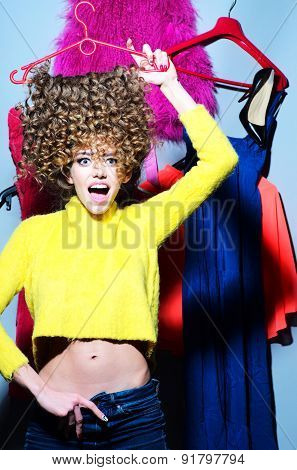 Crazy Young Woman With Clothes