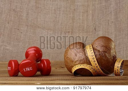 Bun Dumbbells And Tape Measure