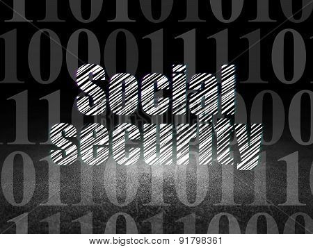 Safety concept: Social Security in grunge dark room
