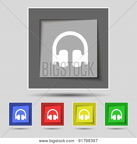 Headphones, Earphones Icon Sign On The Original Five Colored Buttons. Vector