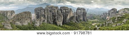Meteora In Greece. Panorama