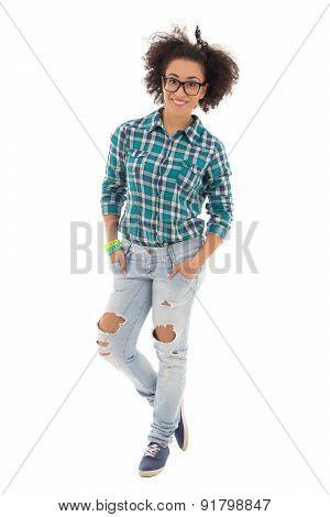 Beautiful African American Teenage Girl Isolated On White