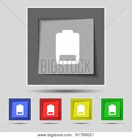 Battery Low Level, Electricity Icon Sign On The Original Five Colored Buttons. Vector