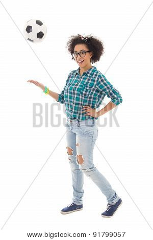 Happy African American Teenage Girl Playing With Soccer Ball Isolated On White