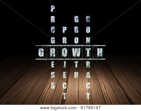 Finance concept: word Growth in solving Crossword Puzzle