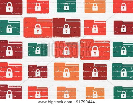 Business concept: Folder With Lock icons on wall background