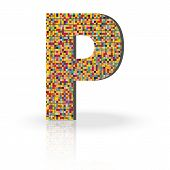 stock photo of letter p  - Colorful 3D Alphabet Letter P with reflection on white glossy surface - JPG
