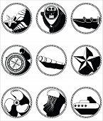 foto of shell-fishes  - Nautical elements II icons in knotted circle including   sea shells - JPG