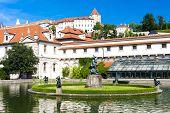 stock photo of castle  - Valdstejnska Garden and Prague Castle - JPG