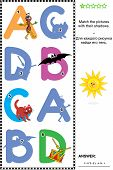 image of letter b  - Visual educational puzzle to learn with fun the letters of English alphabet - JPG