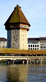 pic of chapels  - close up tower and wooden Chapel Bridge in Lucerne Switzerland - JPG